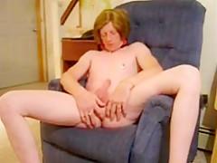 crossdresser strokes cock...