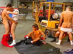 Two bunch of horny factory workers...
