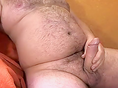 Stuffed stomach jerkoff overweight penis cum...