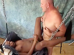 Fucked in sling by daddy...