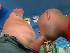 Sexy black stud blows...