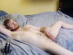 Horny on his bed and shows...
