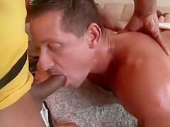 Beefcake black stud fucks hunk tight rectum...