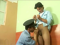 Old gay officer gets access to sweet boyish...