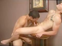 Orgy licks cum from asshole...