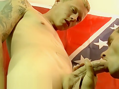 Inked youngster sucked off bareback...