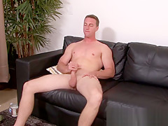 Cute grabs his trimmed dick and jerks it...