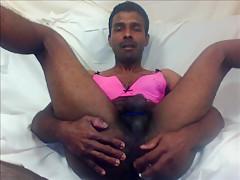 Indian putting dildo in ass and masturbating...