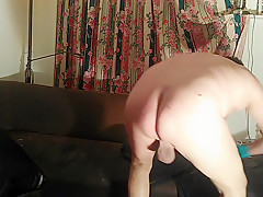 Slut huge ribbled dildo extreme anal gaping butt...