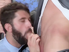 Rough gay business men going all in kisses...