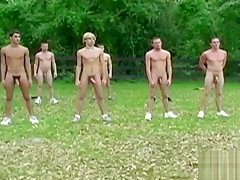 Athletic group workout before sucking and handjob...