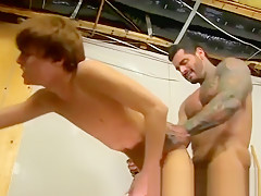 Muscle manga kyler moss sneaks into the janitors...