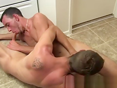 Men with on im in the kitchen with...