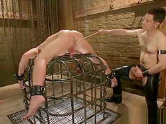 Poor dude caged and whipped part3...