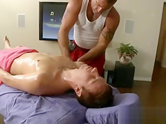 Gets off rubbing naked guys body on massage...