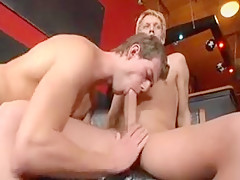 Dissulute blonde gay seduces a guy in a...