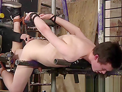 Slave ass tortured and face master...