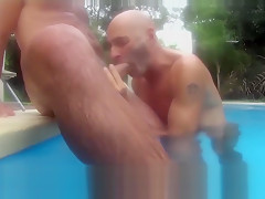 In pool by nudemassage...