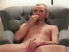 Twinks jerks his cock...
