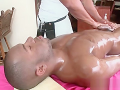 Stud gets cock massaged...