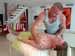 Giving oil body massage to hot guy...
