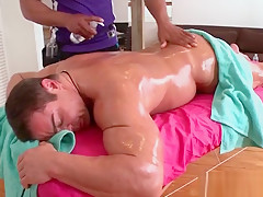 Oiling dudes body...