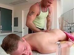 Cute blonde boy gets ass finger teased masseur...