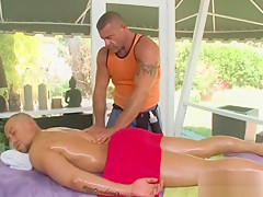 Body gay massaged with oil...