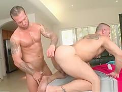 Tattooed hot stud fucking masseurs lusty butt...