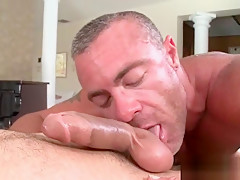 Aroused deep throating big loaded penis...