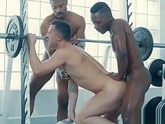 Gym gay threesome sex...