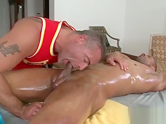 His muscled client blowjob...