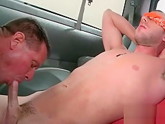 Showing his great cock sucking skills in the...