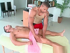 Handsome gay massaging a straight hot dude...