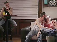 Three visit gay bar gay threesome sex...