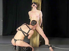 Big dick master turns young ballet twink into...