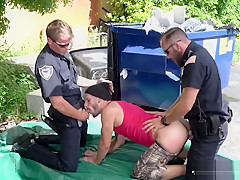 Uniformed pervs slam suspects ass raw...