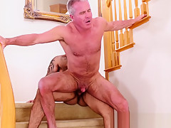 Bouncing on bear daddies cock after sucking it...