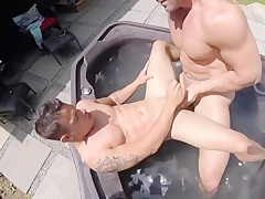 In a hot tub twink gay porn...