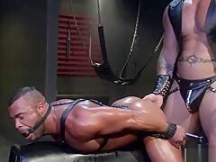 Bondaged gay ass ravaged by dominator...