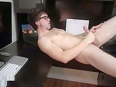 Hot guy strokes his cock...