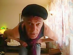 Old gay man strips naked...
