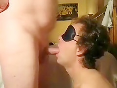 Sucking huge cock some more blindfolded...