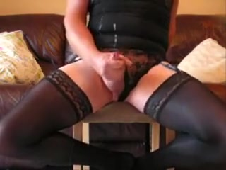 Lewd crossdresser in black stockings plays with himself Low bandwidth porn