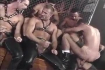 Blond and leather orgy Fill her up cum