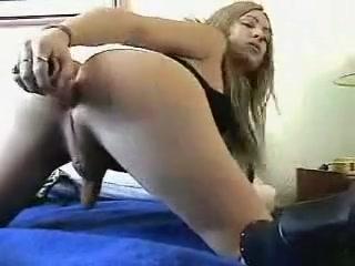 shemale Skinny Girl Riding Vibrator
