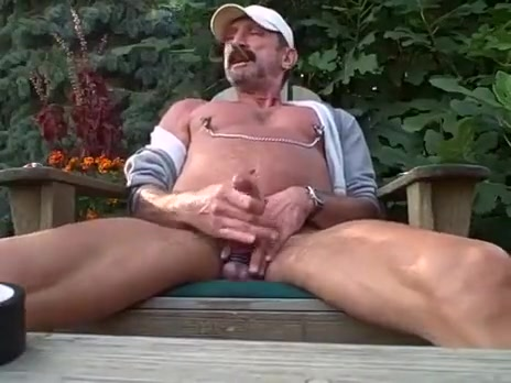 riding a hog Gay hairy man older pic