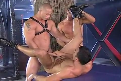 Leather Rough Guy cum on asian mouth