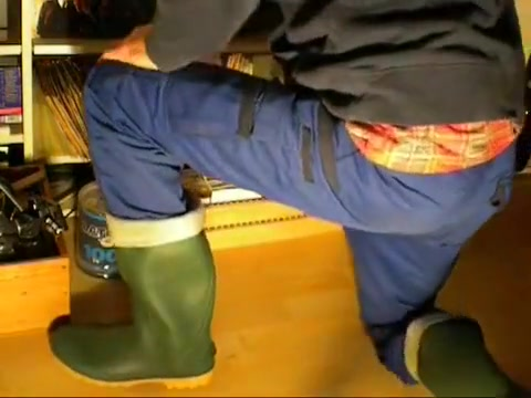 nlboots - working trousers & green rubber boots black me terri fucked porn ass