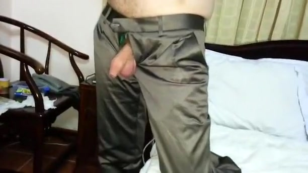 Playing with his large cock in Shiny Satin trousers panties wife bbc bbw vocal